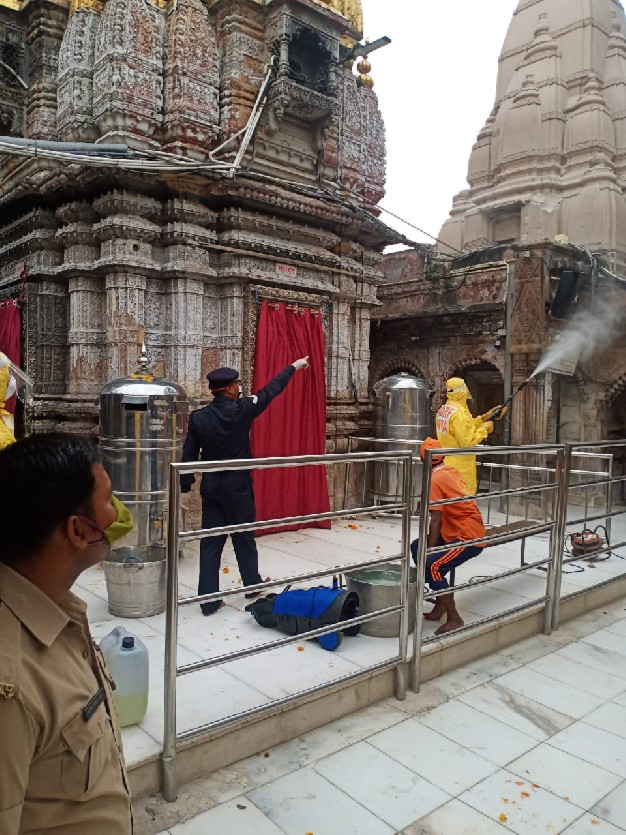 NDRF sanitizes at Kashi Vishwanath Temple and Old Age Home